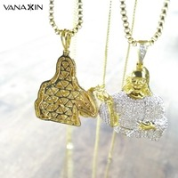 VANAXIN Hip Hop Religious Pendant Bling AAA Cubic Zirconia Cross Jesus Necklace Men Chain Christian Jewelry Gifts Vintage CC Box