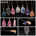 [JIMORE] Irregular Handmade Necklace Vintage Fashion Gold Plated Natural Stone Pendant Necklace Crystal Quartz Necklace JMN327
