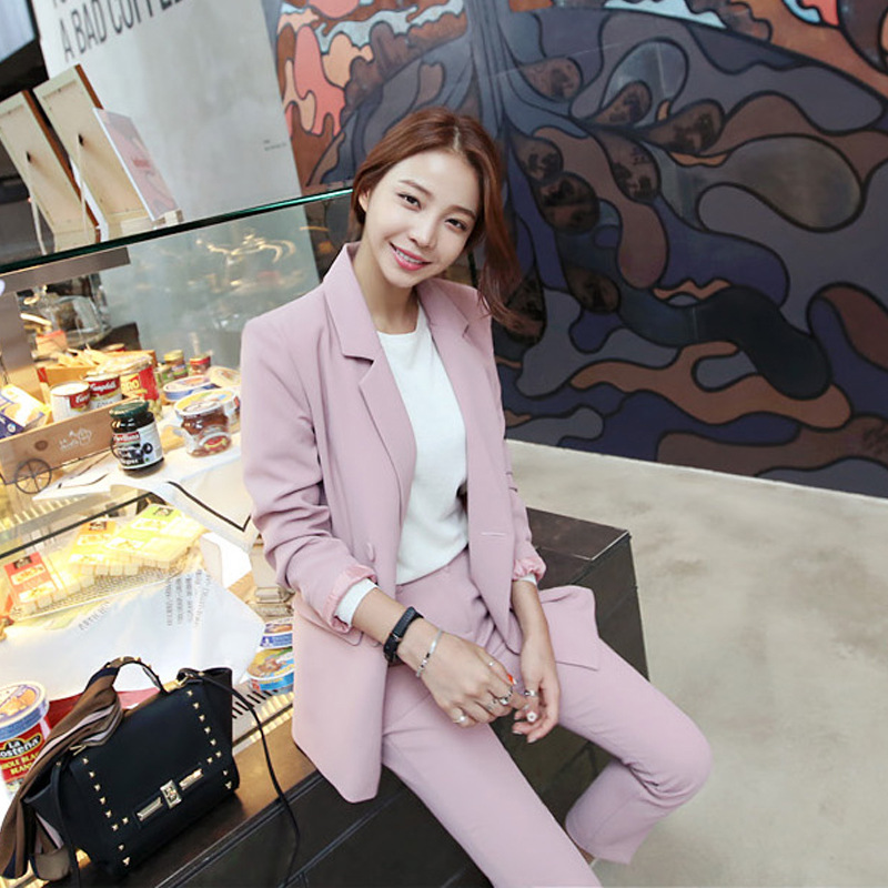 Set female 2018 spring new style temperament fashion small suit jacket + casual pants pants two sets of elegant leisure