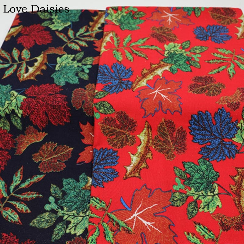 Shabby Chic Black Leaves Natural LINEN Price per 1//2 metre Cotton Fabric
