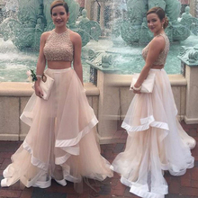 Doragrace Charming Two-Piece Ruffles Beaded Evening Party Dresses Prom Gowns Plus Size