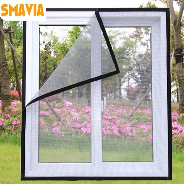 SMAVIA High Quality Summer Anti-Mosquito Window Screen Fiberglass Encryption Mosquito Net Window Magic Sticker DIY easy install