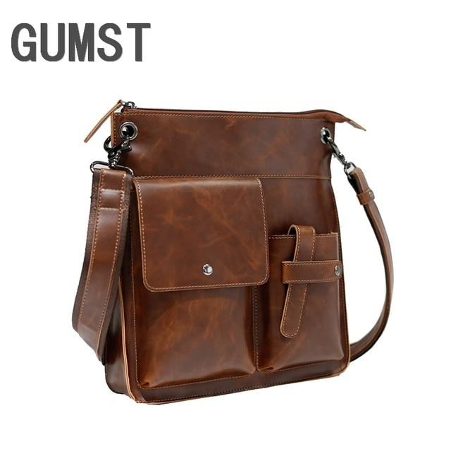 GUMST Vintage Crazy Horse PU Leather Men Bags Hot Sale Male Messenger Bag Man Fashion Crossbody Shoulder Bag Men's Travel