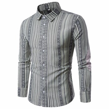 long sleeve shirt men Slim Fit Stripe Casual Button Formal Male Tops High Quality in Gray Purple Red Colour men's shirt