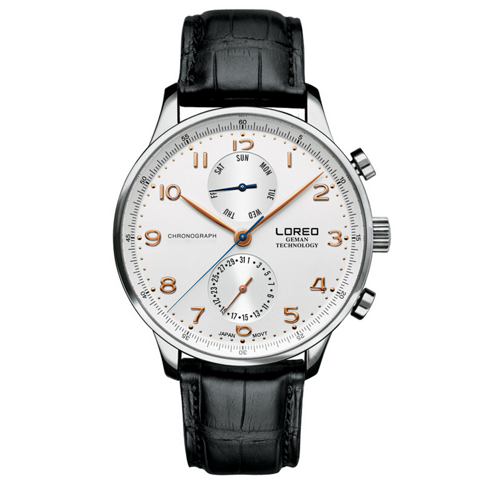 LOREO Mens ชุดมัลติฟังก์ชั่นาฬิกาหนังธุรกิจนาฬิกาข้อมือควอตซ์สัปดาห์, วันที่-ใน นาฬิกาควอตซ์ จาก นาฬิกาข้อมือ บน   3