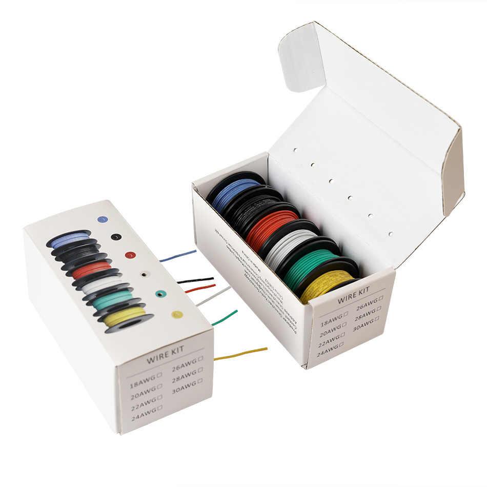Kit de fils toronnés 26/24/22/18 awg | 6 couleurs de mélange, fil d'isolation en Silicone pour fil électrique