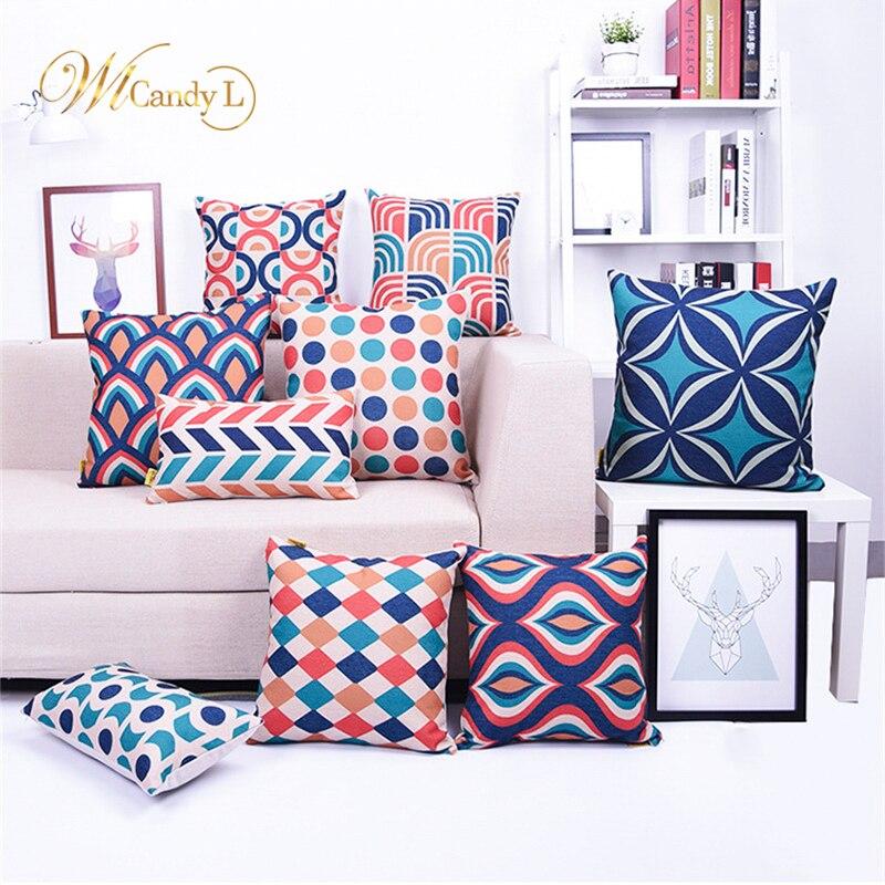 WL Candy L Geometric Design Cushion Coves Stripe Grid Pattern 45*45cm Home Decorative Car Sofa Beige Linen Housse de Coussin