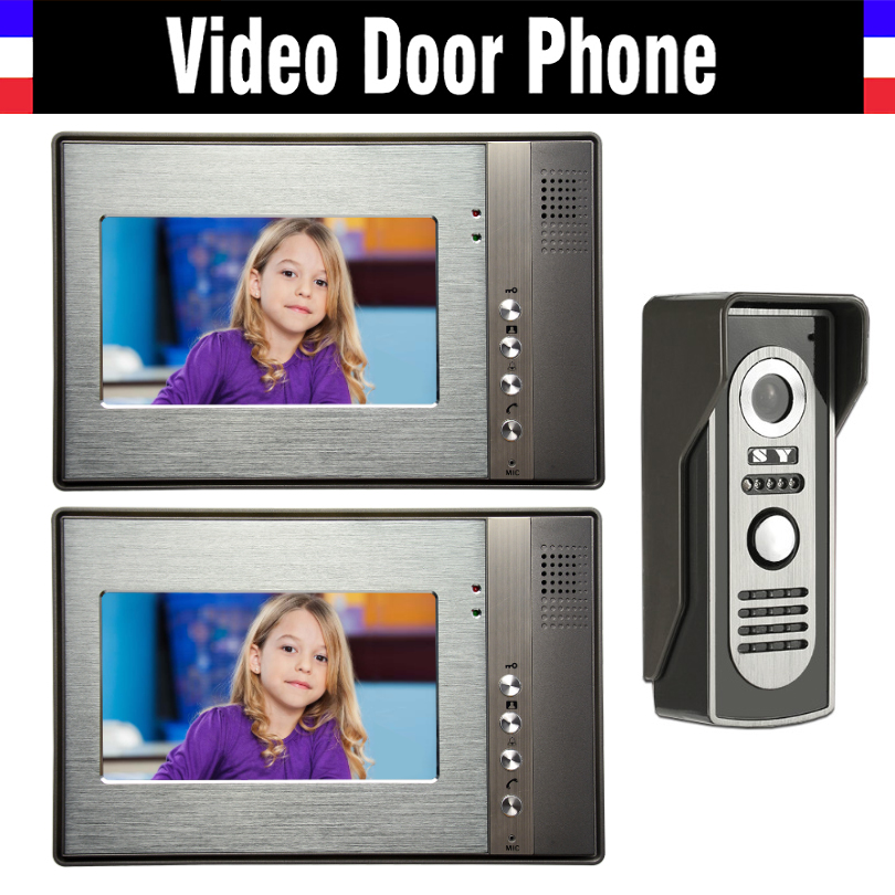 7 Inch LCD Wired Video Intercom Door Phone Kits Video Doorbell System Video Interphone 2-Luxury Aluminum Monitor 1-IR Camera brand new wired 7 inch color video door phone intercom doorbell system 1 monitor 1 waterproof outdoor camera in stock free ship