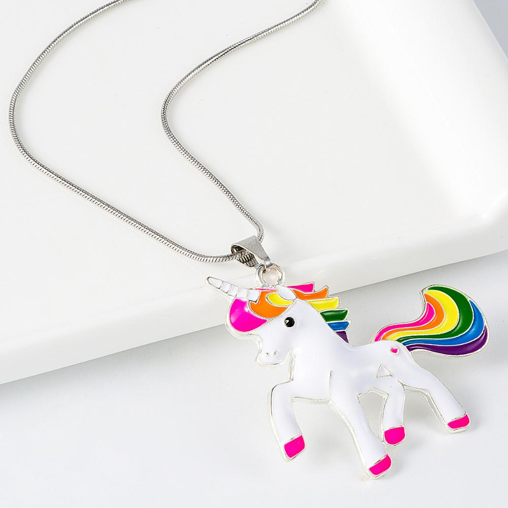 Kid Chunky Necklace Unicorn Girls Bubblegom Bead Chunky Necklace Unicorn pendant chain necklace fashion NL009