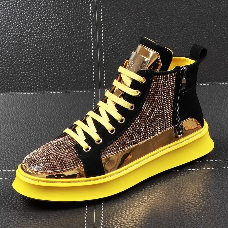 CuddlyIIPanda الفاخرة العلامة التجارية الرجال الأزياء عالية أعلى أحذية رياضية الربيع الخريف عارضة أحذية عالية الرجال الكريستال الأحذية سستة بلينغ الأحذية-في أحذية رجالية غير رسمية من أحذية على  مجموعة 1