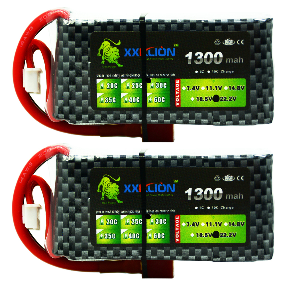 2pcs XXKLION <font><b>6S</b></font> 22.2V <font><b>1300mAh</b></font> 25C 30c 35c High Power <font><b>LiPo</b></font> Battery for RC Remote helicopter RC carLithium Ion Battery image
