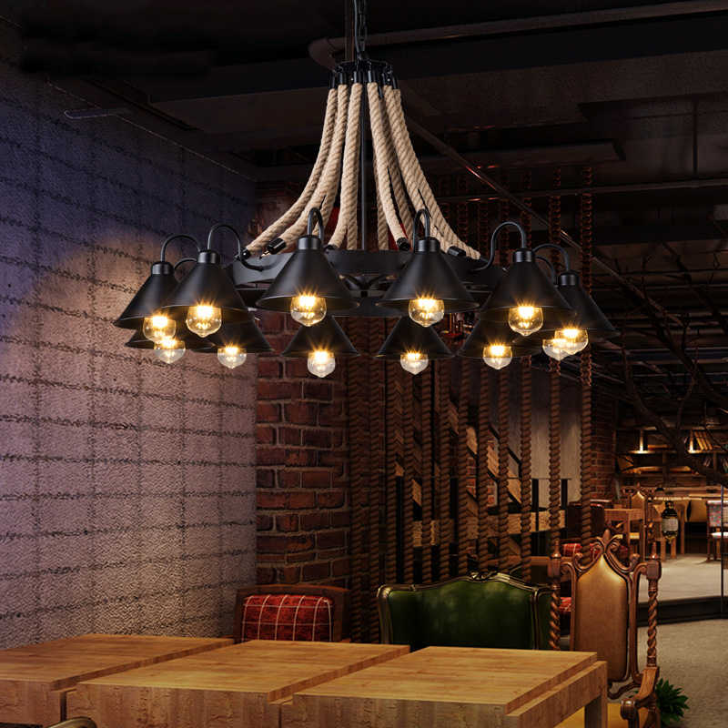 Веревка винтаж промышленных hanglamp подвесные светильники светодиодные фонари для дома nordic подвесные светильники Лофт стиль висит