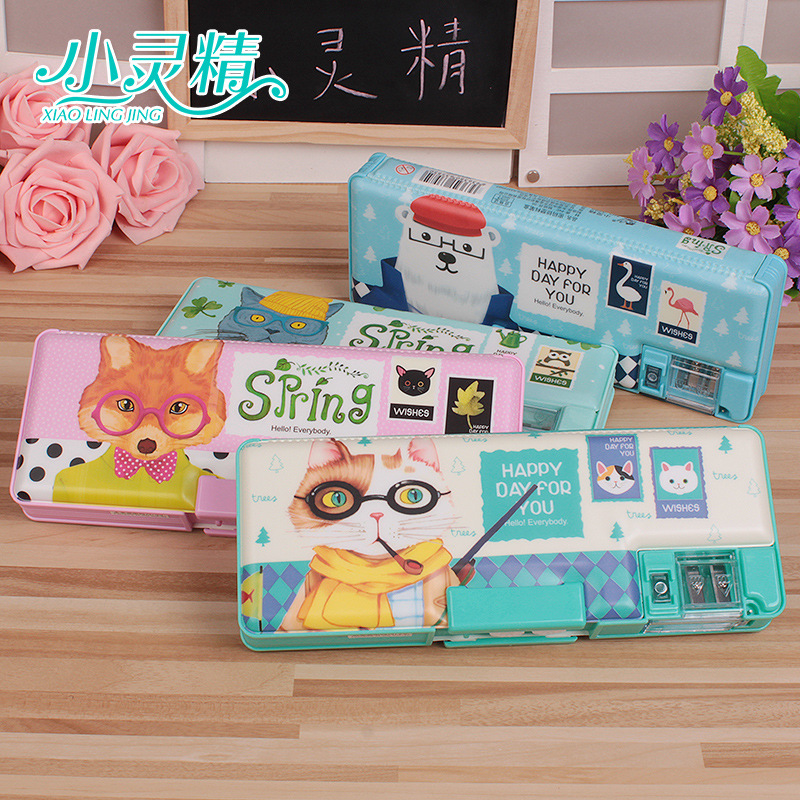 Stationery case double password stationery cartoon creative pencil box plastic 23*9*3cm 190g Multi-function pencil case storage atmega16a chip core avr scm development board learning board test board programmer with pins