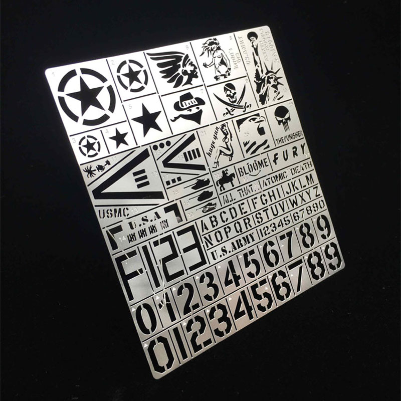 1/35 USA Armed Vehicle Stainless Steel Stencil Template Chariot Armor Design  Leakage Spray Board Spray Plates Model  Tools