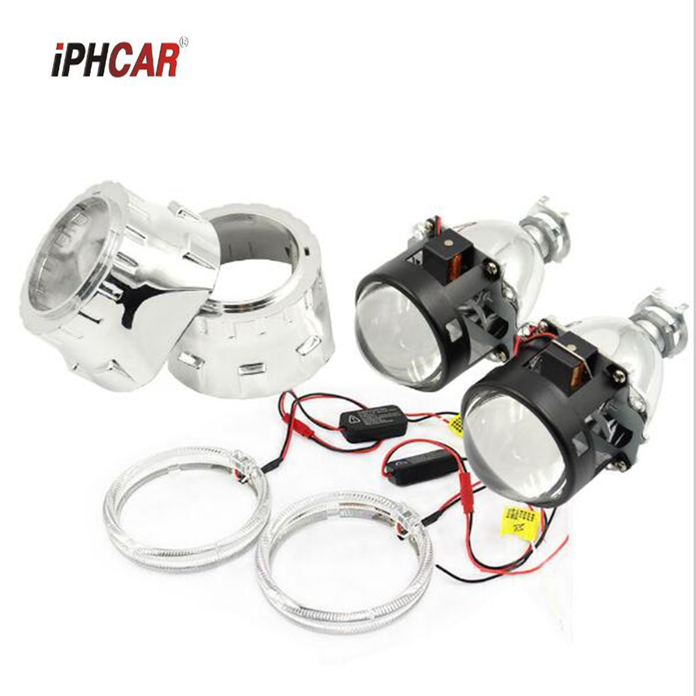 2.5inch car styling hid bixenon Projector lens led day running DRL angel eyes car assembly kit fit for h1 h4 h7 xenon bulb model 2 5inch bixenon projector lens light double angel eyes drl hid xenon kit xenon bulb ballast fit for h1 h4 h7 car headlight