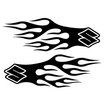 17.8cm*6.1cm Tank Flames Decor Vinyl Car-Styling Car Sticker Motorcycle Black/Silver S3-6269