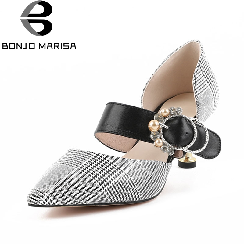 BONJOMARISA 2018 Cow Leather Pointed Toe Buckle Strap Women Shoes Woman Thin High Heels Pumps Woman Shoes Size 34-39 пуловер quelle rick cardona by heine 3918
