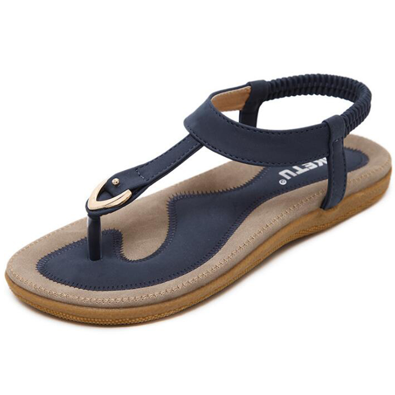 2017 Summer Shoes Leather Women sandals Bohemia comfortable non-slip soft bottom flat women flip flops sandals plus size 42 summer leisure slippers slip on round toe comfortable sandals women flat sandals casual flip flops female shoes