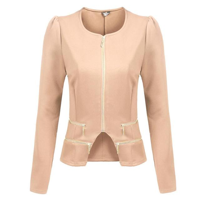 zeagoo Up Solid Zip Slim Casual Irregular Jacket Short O-Neck Women's Blazer Fit