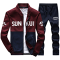 Men's Exercise Active Suit Sweatshirts Patchwork Print Men Hoodies Stand Collar Male Outwear Tracksuit Men Sudadera Hombre D35