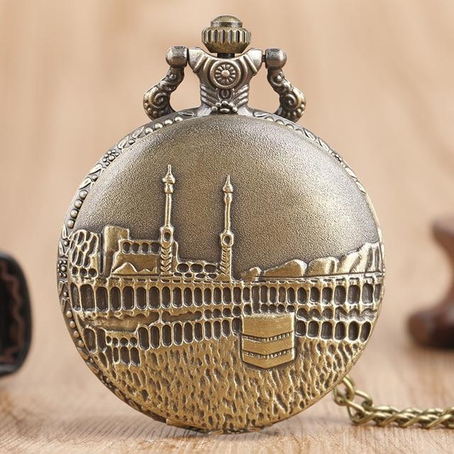 Classic Castle Building Quartz Pocket Watch Bronze Antique Necklace Pendant Chai