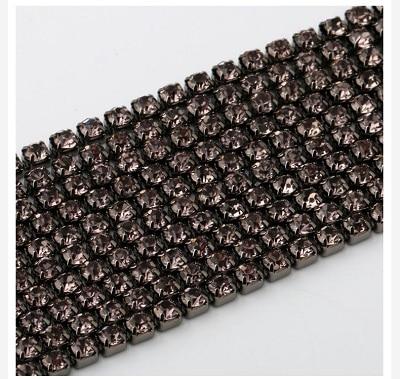 1 ярд/шт, 30 цветов, стеклянные хрустальные стразы на цепочке, Серебряное дно, Пришивные цепочки для рукоделия, украшения сумок для одежды - Цвет: Black bottom gray