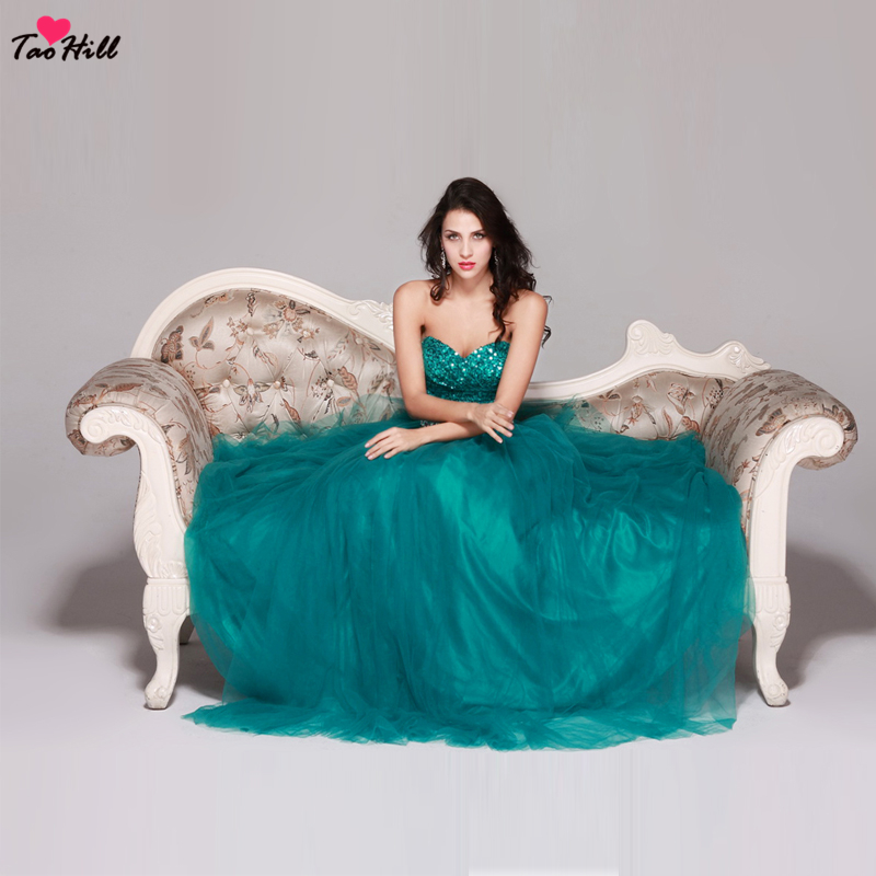 TaoHill Peacock Blue A-line Strapless Sweetheart Neck Sequins Beading Waist Bridesmaid Dresses For Girls