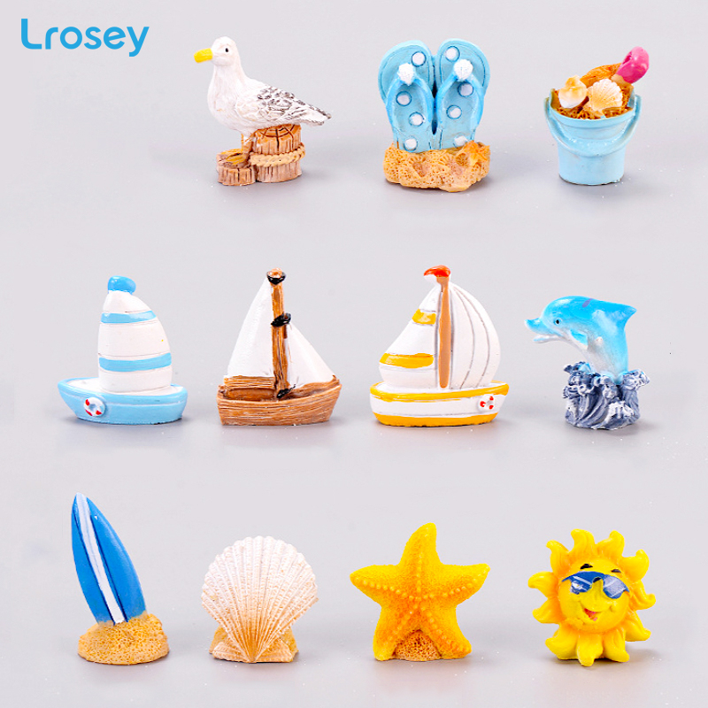 Miniature Garden Ornaments Decoration Drift-Bottle Seascape Sun-Umbrella Beach-Accessories