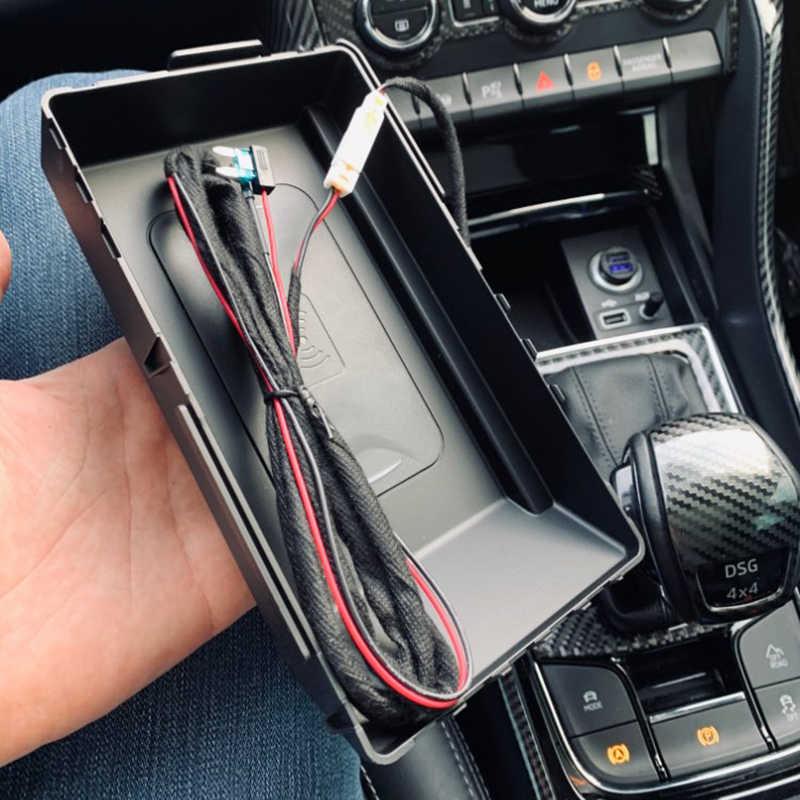 Samochód bezprzewodowa ładowarka qi dla Skoda Kodiak 2017 2018 2019 bezprzewodowa ładowarka do telefonu płytę ładowania uchwyt na telefon akcesoria na