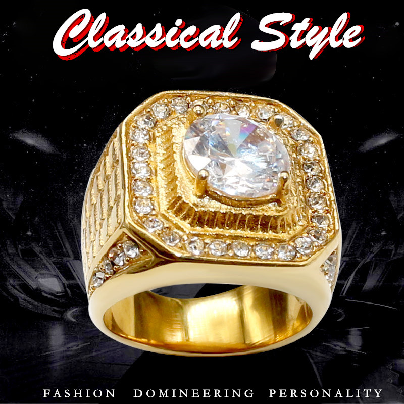KLDY NEW Bling Mens Zircon Ring Gold stainless steel Full CZ Hip hop Rings Fashion HIP-HOP Jewelry Dropshipping size 7 to 13