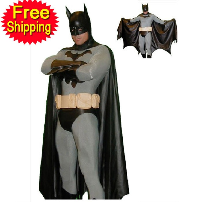 (SUP919)black and gray Lycra sexy catsuit Cosplay Superhero Batman Zentai Halloween Party Costumes free shipping dhl custom made new arrival sexy red pvc zentai catsuit zentai suit for halloween party front zipper zp1508
