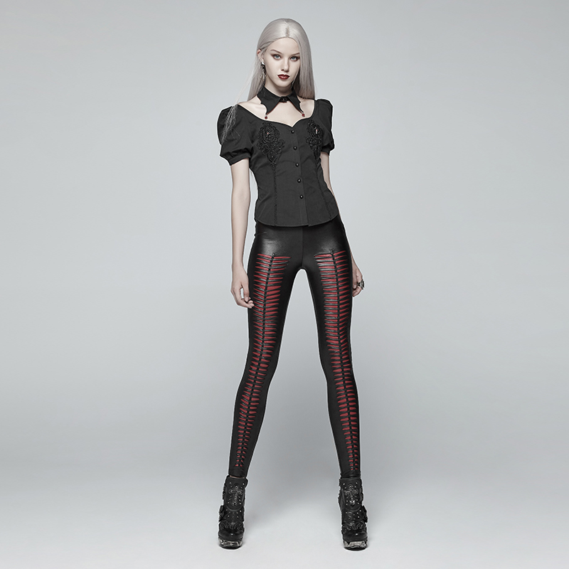 Steampunk Gothic PU Leather Hollow Out Vertical Stripe Leggings For Women Punk Black Sexy Low Waisted Women Skinny Trousers - 4