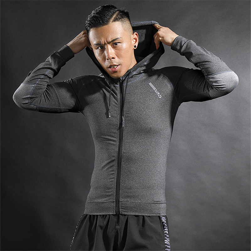 New Men Running Jackets Fitness Sports Coat Soccer Football Training Gym Elastic Corset Hooded Thin Comfortable Superior quality цена