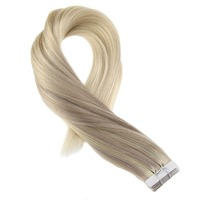 Moresoo Skin Weft Remy Tape in Hair Extensions Dip Dye Extensions Color #18 Fading to #22 and #60 Blonde Tape in Extensions