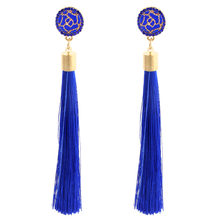Bohemian Blue Red Black White Pink Silk Fabric Long Drop Dangle Tassel Earrings Crystal Tassel Earrings For Women Jewelry Y127(China)
