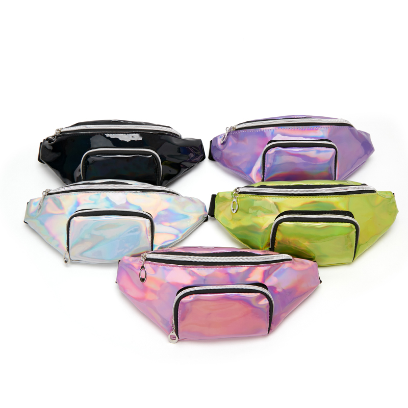 2019 New Wholesale Laser Belt Bag Holographic Waist Bag Pink Pu Fanny Pack Silver Hip Bag Chest Phone Pouch Sac Banane