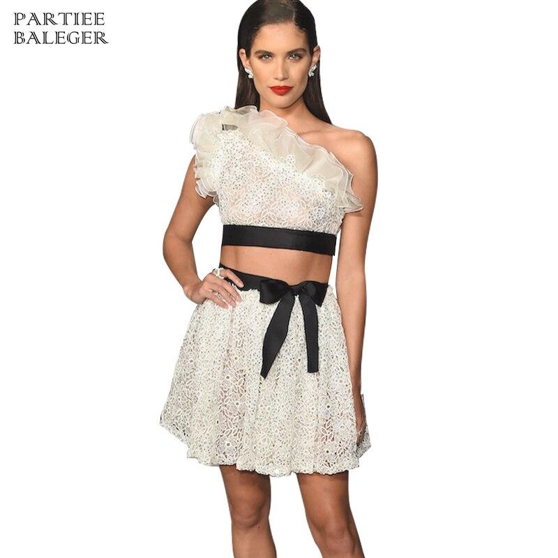 Deux Une Épaule Robe Mode La Celebrity Dentelle Multi 2019 Sexy Nouvelle Embelli Party Ruches Pièces Club Perles À Arrivée Mini Bandage Sqnvw7p