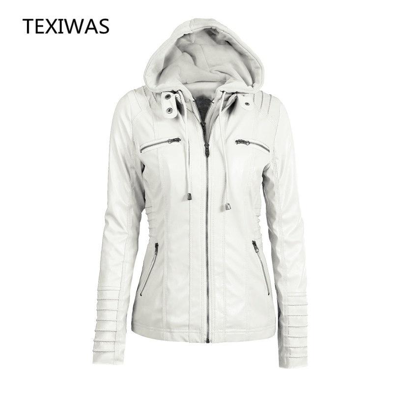Plus Size 6xl Beige Faux Pu Leather Sweatshirt Coats Zipper Turndown Removable Collar Long Sleeve Hoodie Overcoat Female P005 Women's Clothing