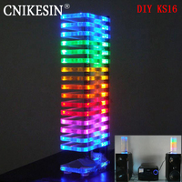led music Brand new Diy KS16 Fantasy crystal sound column light cube LED music spectrum Level display electronic production DIY kits 1PCS (1)