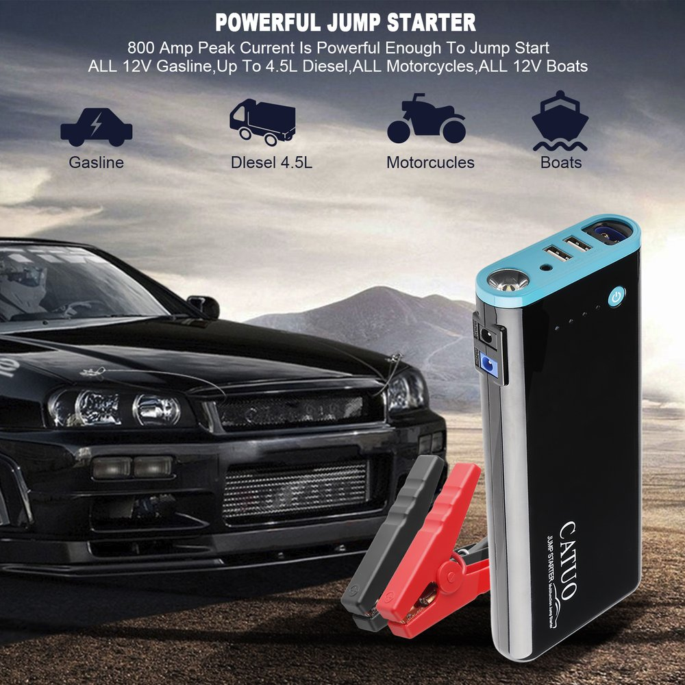 CATUO 20000mAh Portable Car Jump Starter Battery Booster with USB Power Bank LED Flashlight for Truck Motorcycle Boat(China)