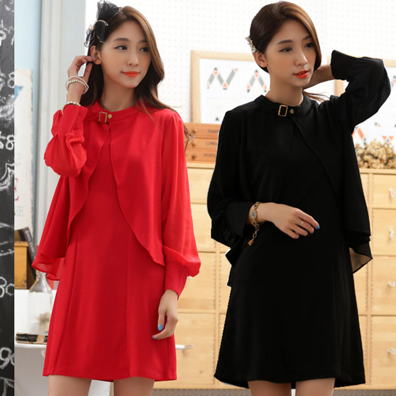 F~3XL Plus Big Size Spring Autumn OL Elegant 2 Piece Suit Fashion Knit Long Sleeve Ruffle Jacket Short Women Dress Vestidos