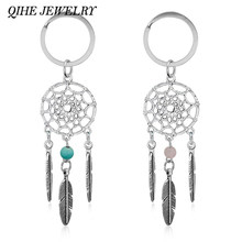 QIHE QH-Regalo DEI MONILI Rosa Perline Nere Dreamcatcher Piuma Campanelli Eolici Dream Catcher Donne Dell'annata di Stile Indiano Keychain Della Catena Chiave(China)
