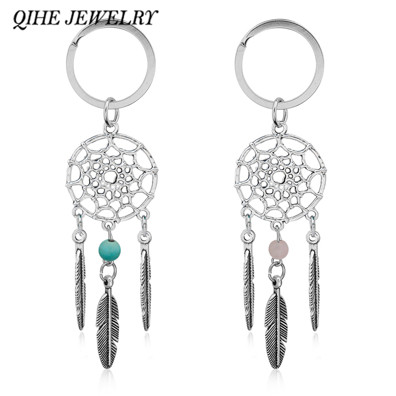 QIHE JEWELRY Gift Pink Black Beads Dreamcatcher Feather Wind Chimes Dream Catcher Key Chain Women Vintage Indian Style Keychain vintage beads feather leaf sweater chain and a pair of earrings for women