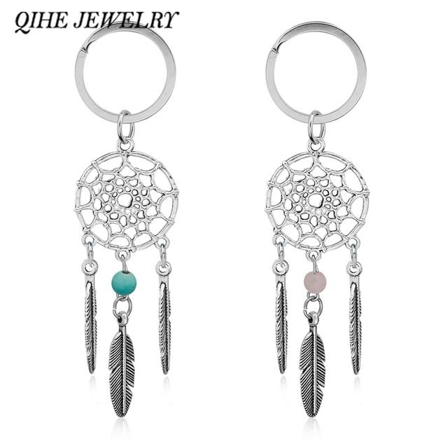 QIHE QH-ĐỒ TRANG SỨC Món Quà Màu Hồng Hạt Màu Đen Dreamcatcher Feather Gió Chimes Dream Catcher Key Chain Nữ Vintage Ấn Độ Phong Cách Keychain