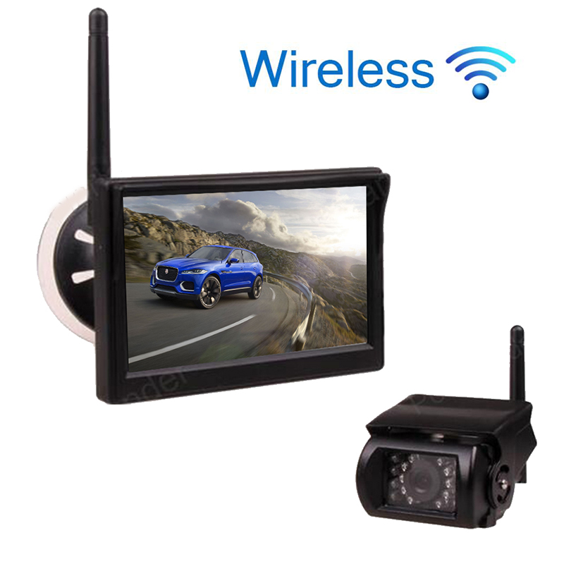 new 12 24V Car Truck 5 inch TFT LCD Wireless Monitor for Car Rear View Camera Parking KIT 2CH Video Input Built in Transmitter