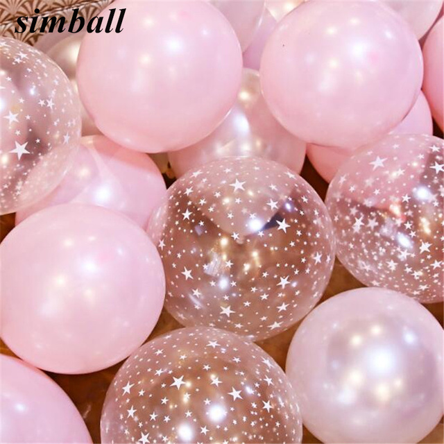 10inch Pink Balloons 28g Transparent Latex Helium Balloon Happy Birthday Clear Stars Thick Ballon