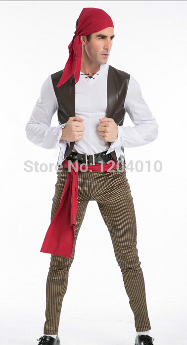 Free Shipping party costume Mens Pirate Buccaneer Fancy cothing Dressing Up Costume