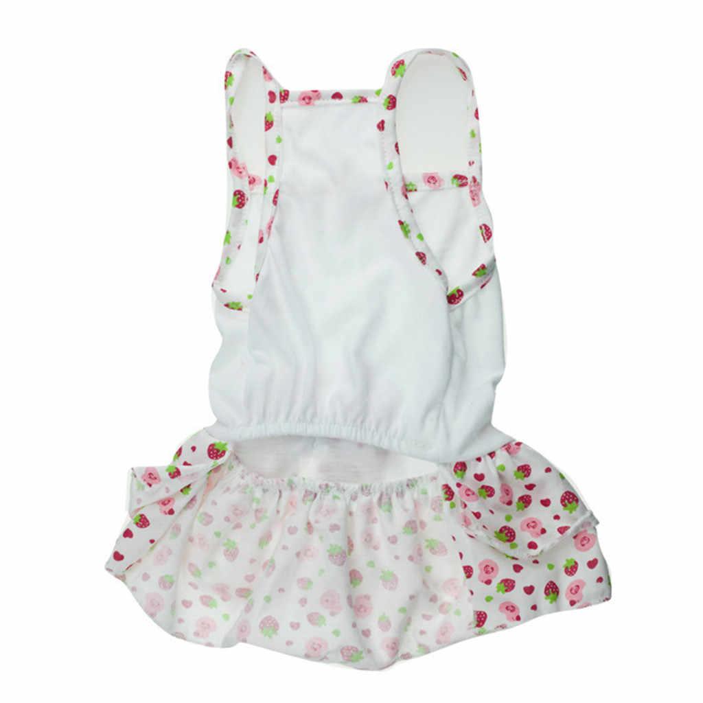 Нежное милое платье с принтом щенка собаки кошки, весенне-летняя дышащая юбка с фруктовым принтом, одежда для собак, модная юбка