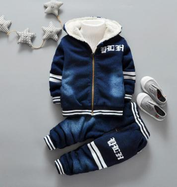 Kids Clothes For Baby Boys Jeans Denim Clothing Sets Winter Thick Warm Letter Print High Qulity 1- 4 Years SY-F167200 letter print knot front top