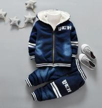 Kids Clothes For Baby Boys Jeans Denim Clothing Sets Winter Thick Warm Letter Print High Qulity 1- 4 Years MY-7200 new 2017 spring boys letter patch denim clothing sets 3pcs kids clothes sets baby boys denim suit kids jeans